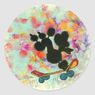 Black Poodle Skateboard Fun Print Round Sticker