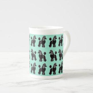 Black Poodles Print Mint Bone China Mug
