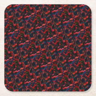 Black Poppies Square Paper Coaster
