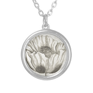 Black Poppy Silver Plated Necklace