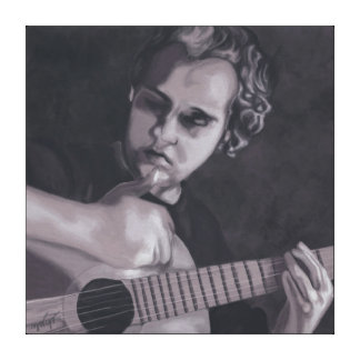 Black portrait and white playing man of the guitar canvas print