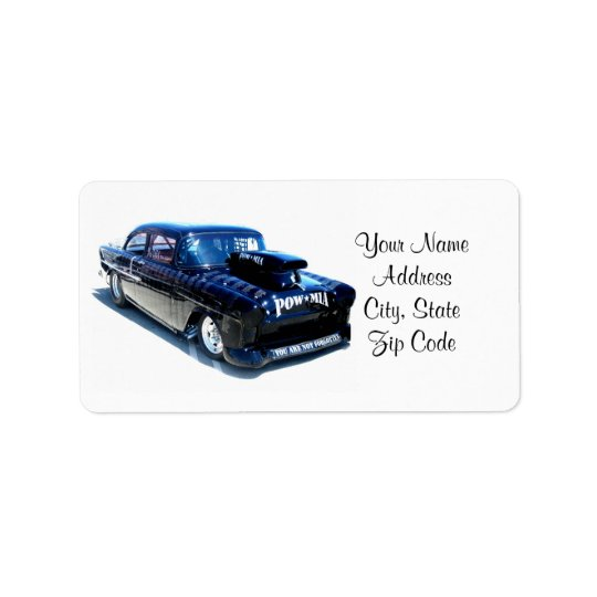 Black POW custom classic car Label