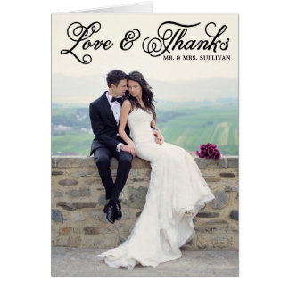 Black Pretty Script Wedding Thank You Card