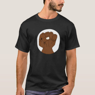 Black Pride Fist Power Symbol on Dark T-Shirt