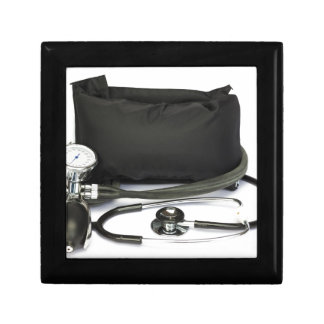 Black professional blood pressure monitor on white gift box