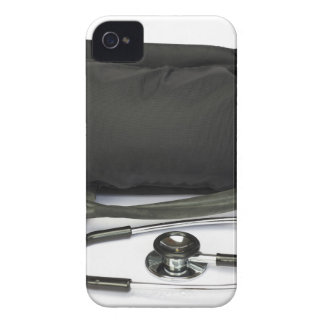 Black professional blood pressure monitor on white iPhone 4 case
