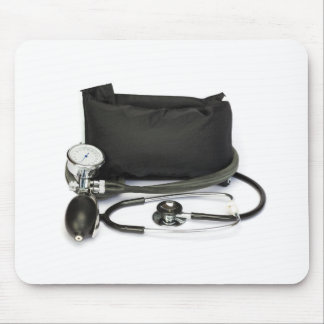 Black professional blood pressure monitor on white mouse pad