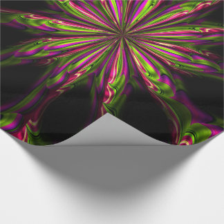 Black Psychedelic Flower Print Wrapping Paper