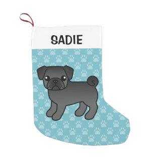 Black Pug Cartoon Dog Illustration Small Christmas Stocking