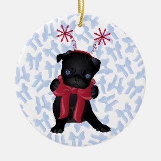 Black Pug dog Chrismtas Ornament 1