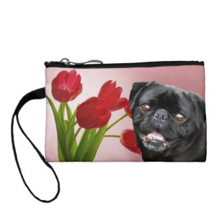 Black pug dog in tulips coin purses
