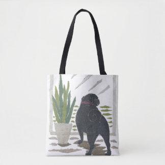 Black Pug, Dog, Modern Tote Bag