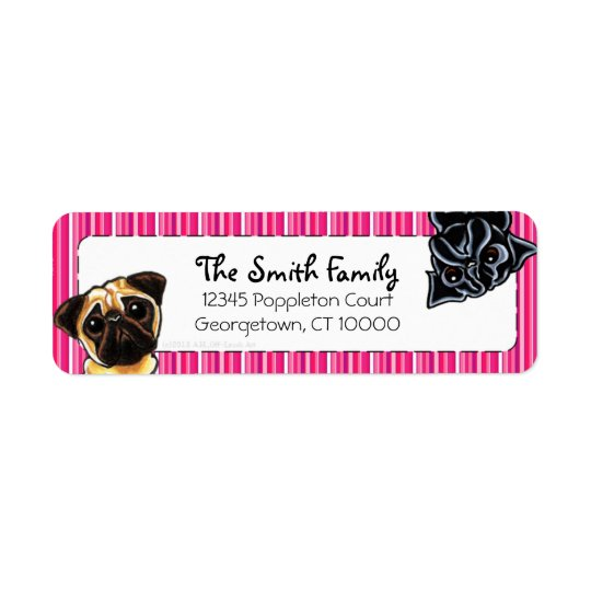 Black Pug Fawn Pug Up Down Pink Stripes Return Address Label