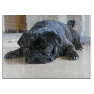 black pug flat cutting board