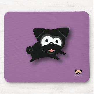 Black Pug Mousepad (purple)