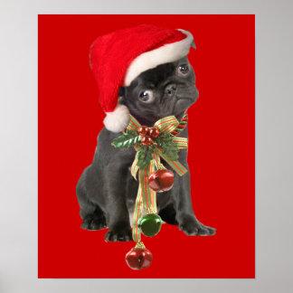 Black Pug Puppy Christmas Portrait Poster