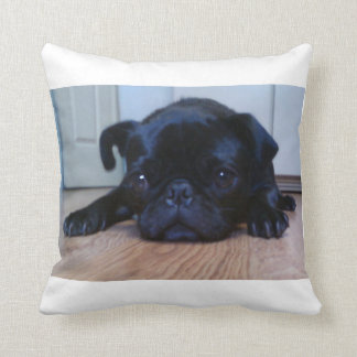 Black Pug Puppy Throw Pillow