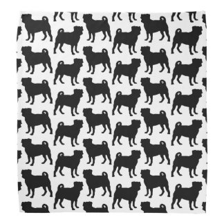 Black Pug Silhouette - Simple Vector Design Bandana