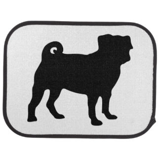 Black Pug Silhouette - Simple Vector Design Car Mat