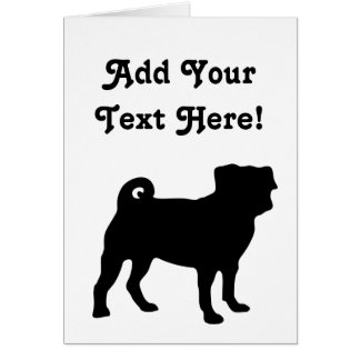 Black Pug Silhouette - Simple Vector Design Card