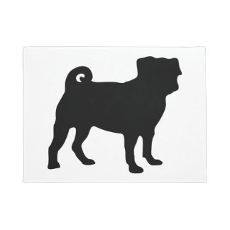 Black Pug Silhouette - Simple Vector Design Doormat