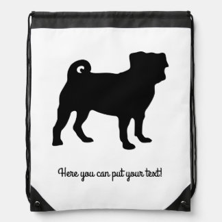 Black Pug Silhouette - Simple Vector Design Drawstring Bag
