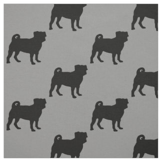 Black Pug Silhouette - Simple Vector Design Fabric