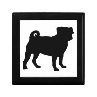 Black Pug Silhouette - Simple Vector Design Gift Box