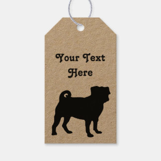 Black Pug Silhouette - Simple Vector Design Gift Tags