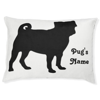 Black Pug Silhouette - Simple Vector Design Large Dog Bed