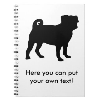 Black Pug Silhouette - Simple Vector Design Notebook