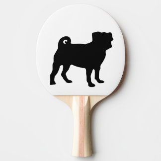 Black Pug Silhouette - Simple Vector Design Ping Pong Paddle