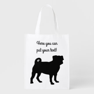 Black Pug Silhouette - Simple Vector Design Reusable Grocery Bag