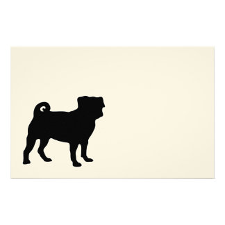 Black Pug Silhouette - Simple Vector Design Stationery Design