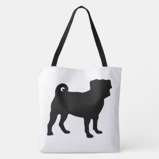 Black Pug Silhouette - Simple Vector Design Tote Bag