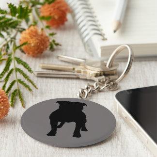 Black Pug Silhouettes on Grey Background Keychain
