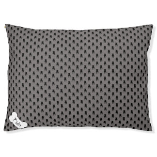 Black Pug Silhouettes on Grey Background Large Dog Bed