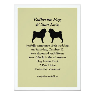 Black Pug Silhouettes Wedding Announcement