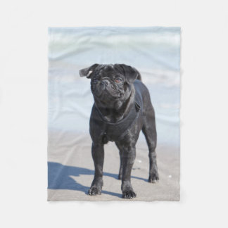 Black Pug Standing On The Beach Fleece Blanket