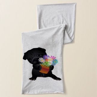 Black Pug with Flowers Scarf