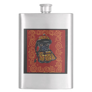 Black Pug Year of the Dog Hip Flask