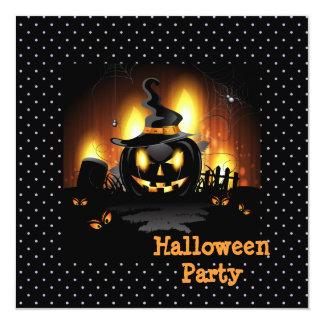 Black Pumpkin Halloween Party Invitation