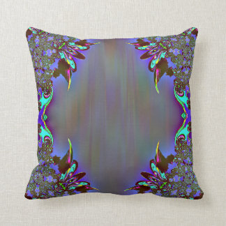 Black Purple Abstract Feathery Throw Pillow