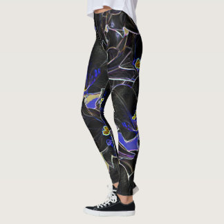 Black Purple and Yellow Abstract Floral Leggings