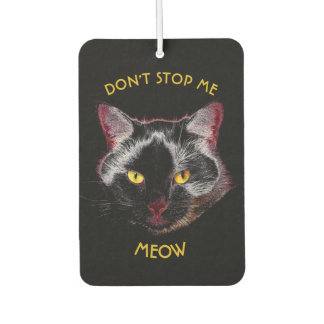 Black Purple Cat Drawing With Yellow Eyes Air Freshener
