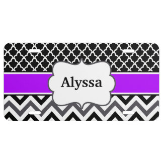 Black Purple Chevron Quatrefoil Personalized License Plate