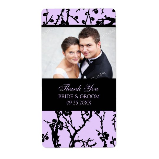 Black Purple Damask Photo Wedding Labels