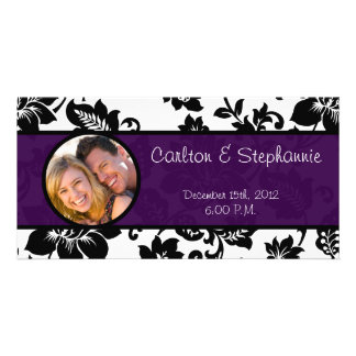 Black/Purple Floral Damask Photo Announcement Personalized Photo Card