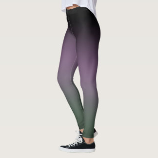 Black Purple Green Gradient Fade Leggings