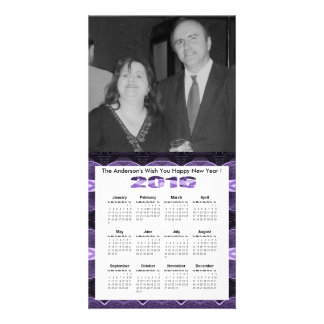 Black Purple Lace Pattern 2016 yearly calendar Photo Greeting Card
